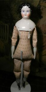 ANTIQUE CHINA HEAD, SILK COSTUME, PRINTED BODY W/BLACK PAINTED BOOTS