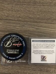 Victor Hedman Autographed Tampa Bay Lightning Game used warm up Puck ECF gm5