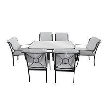 Arredamento da esterni tavolo vetro 6 sedie ferro con cuscini bianchi arredo|098