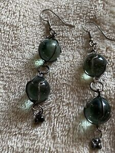 Drop Dangle Pierced Earrings Glass Green Tinge Marbles Encased With Wire 2.5""