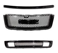 07 13 GMC Sierra Denali Front Bumper Hood Grille Grille Gloss Black 3 Pcs Set