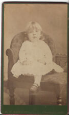 CUTE LITTLE GIRL CHILD CDV PHOTO BY W. J. RAWLINS VINCENNES INDIANA UNIQUE CHAIR