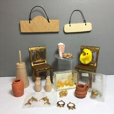 Lot Miniatures 2 Chairs, 2 signs, Cookies, Platter, Pots, Butter Churn 1:12 (12M