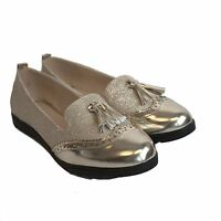 New Womens Low Wedge Heel Slip On Tassled Brogue Loafers Pumps