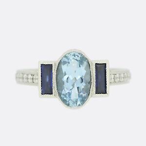 Platinum Diamond Ring-Aquamarine, Sapphire and Diamond Three Stone Ring Platinum