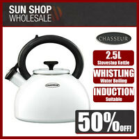 100% Genuine! CHASSEUR 2.5L Enamelled Whistling Kettle White! RRP $129.00!