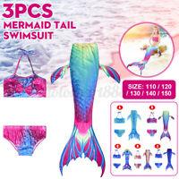 3 Pezzi Bikini Ragazza Fata Sirena Coda-Costumi Bagno Costumi Per Bambini