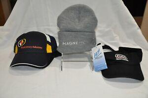 One each ball cap, visor, and grey beanie