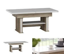 EXTENDABLE LIFT UP QUALITY LARGE COFFEE TABLE MODERN WHITE HIGH GLOSS OAK