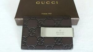 SUPER RARE! $$$ GUCCI GG Brown Leather & Stainless Money Clip Wallet Card Holder