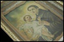 † SAINT ANTHONY of PADUA & CHILD JESUS VINTAGE FRAME HOLY ICON MIRROR FRANCE †