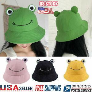 Summer Cotton Cute Frog Bucket Hat Men Women Outdoor Foldable Fisherman Hat LN