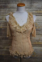 New Kaelyn Max Crinkle Ruffle Sleeveless Blouse Top w. Heart Lace Large
