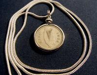 1948 IRELAND LUCKY '48 RABBIT BUNNY Pendant 24' White Gold Filled Round Chain.