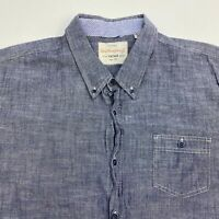 Weatherproof Vintage Button Up Shirt Men's 2XL XXL Short Sleeve Gray 100% Cotton