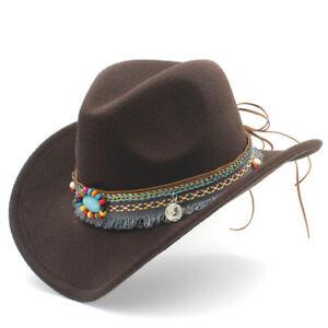 Fashion Cute Kids Boy Girl Western Wool Wide Brim Cowboy Hat Winter Clothing Cap