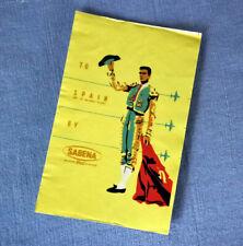 SABENA to Spain     vintage Luggage Label