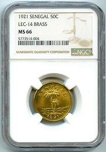 Sénégal Ziguinchor Chambre de Commerce 50 Centimes 1921 NGC MS 66 Top grade!