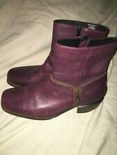 Wolky Savanna Zipper Ankle Boots Eggplant Purple Leather Boots 39 7.5 - 8