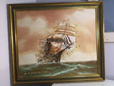 Renato Longanesi Clipper Ship Vintage Oil Painting. Framed