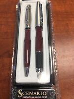 YAFA Scenario Maroon Fountain Pen and Ballpoint Pen Set - MADE IN ITALY