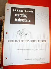 ALLEN-TRONIC 16-30 BATTERY-STARTER  TESTER OPERATING INSTRUCTIONS & PARTS LIST