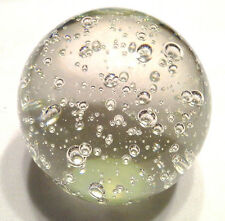 Beautiful Clear Crystal Glass Round Ball Paper Weight w Air Bubbles Inside