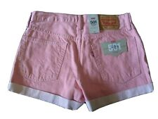 Levis Women shorts jeans 501 Mid-Rise pink Colored Denim sz 30  NWT summer cool