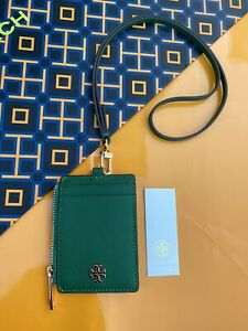 Tory Burch Emerson Lanyard ID Credit Card Holder Emerald Stone Saffiano Leather