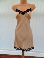 X29X LA SENZA EVITA CHAMPAGNE PALE GOLD SILK BLACK LACE CHEMISE NIGHTIE 16 L 38""