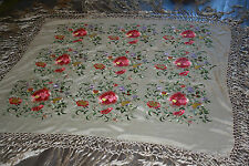 Exqusite Antique Embroidered Piano Shawl Scarf Large Pink & Lavender Pansy?