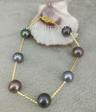 Nature 10-9mm tahitian black pearl bracelet 7.5-8 inch 14K clasp