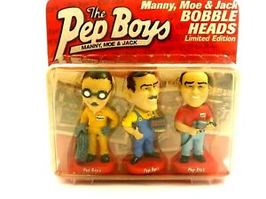 The Pep Boys Manny, Moe & Jack Bobble Heads Limited Edition Sealed