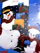 Snowman Father & Son Delivering Gifts, Titan 15629 Felt Applique Stocking Kit