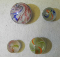 7651m Very Rough Group of 4 German Handmade Marbles 1 Onionskin Mica .67 to 1.03