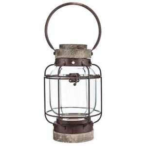 Lantern 11 in. H Glass Globe in Natural Wood Finish with Rusty Iron Details