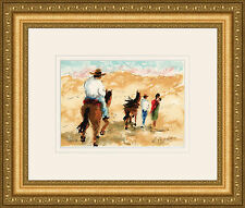 "COOL Original HUCHET Color Lithograph Les Cavaliers Mexicain"" SIGNED Framed COA"