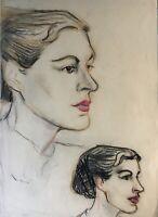 Portraits Köpfe Frauen Midcentury Art Anonym 41 x 29,5 cm Kohle Studie Skizze