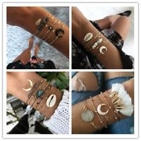 6 Pcs Boho Bracelets Moon Eye Shell Chain Crystal Gold Bracelet Charm Jewelry
