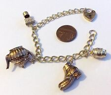 Beautiful Ladies Hallmarked Vintage 9Ct Gold Charm Bracelet With Charms Must See