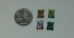 Lot of Dollhouse Miniature Food Snacks 4 bags of chips 1:24 Half Inch Scale K27