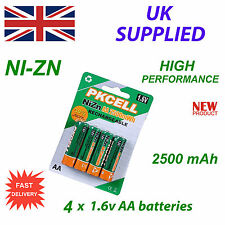 Ni-Zn 4 x 1.6V AA 2500 mwh  High Performance Recharable Battery Pack