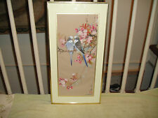 Superb Chinese Painting On Fabric Of Parakeets & Flowers-Signed & Stamped-Framed