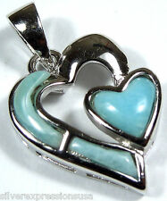 Rare Genuine AAA Dominican Larimar Inlay 925 Sterling Silver Heart Pendant