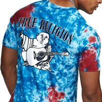 True Religion Men's Tie Dye Buddha Logo Tee T-Shirt in Tie Dye Red Blue
