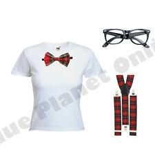 LADIES GEEK NERD CHIC SCHOOL GIRL FANCY DRESS COSTUME OUTFIT RED TARTAN 8-18