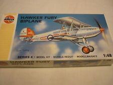 Airfix un made plastic kit of a Hawker fury bi-plane, Boxed