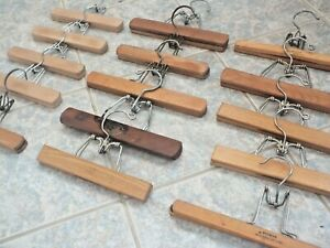 15 Vintage Wooden Hangers for Slacks Pants Skirts Real Wood Compression Style