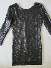 WOMENS H&M DIVIDED GORGEOUS BLACK SEQUINED SPARKLE SEXY FITTED DRESS SMALL NWT