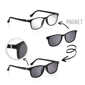 Herren Zweistärken Kunststoffbrille mit Lesefenster inkl. Sonnenclip